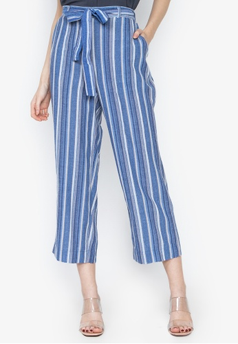 3d90adfce50a Folded & Hung multi Vertical Striped Tie Waist Wide Pants 48D14AAFDE582BGS_1