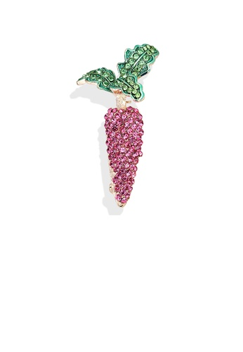 Glamorousky white Simple and Bright Plated Gold Carrot Brooch with Pink Cubic Zirconia 89CA7AC8FEF3A6GS_1