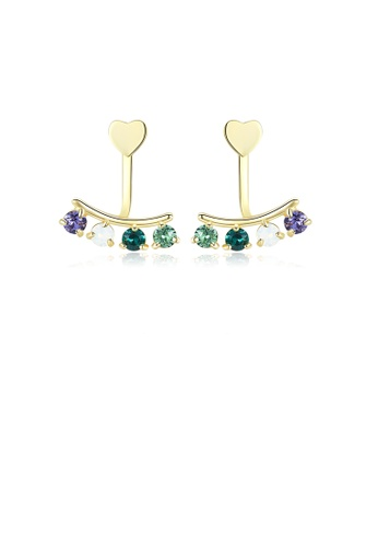 Glamorousky multi 925 Sterling Silver Gold Plated Elegant Fashion Heart Shape colorful Cubic Zircon Earrings A49ADAC8B479AAGS_1