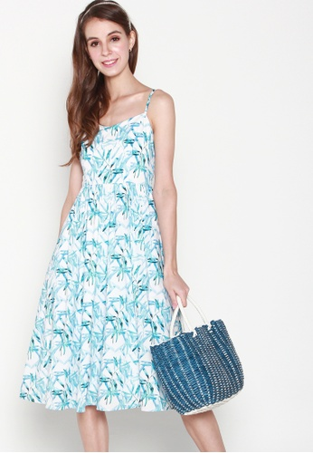 JOVET white and blue Bamboo Printed Spaghetti Dress 2B049AA2E331F9GS_1