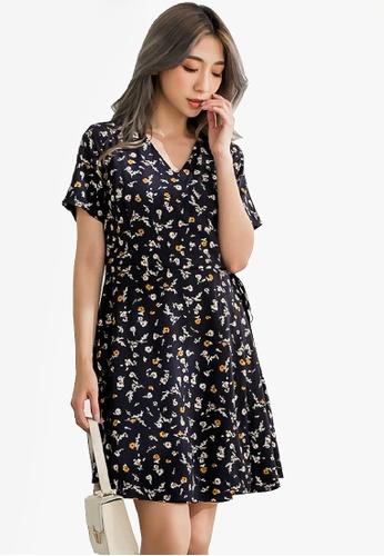 Eyescream blue Floral Wrap Dress 5119CAA95B139EGS_1