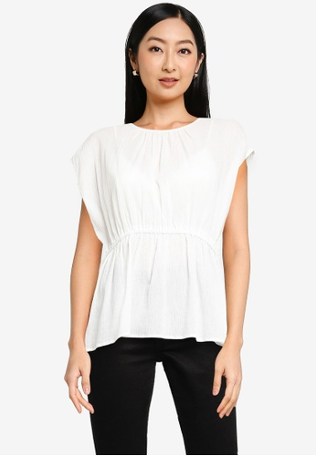 Heather white Texture Top 74340AA73D8E9AGS_1