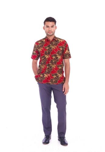 TUSCA red Eusoff Classic Batik Shirt 15F06AA6AEBF52GS_1