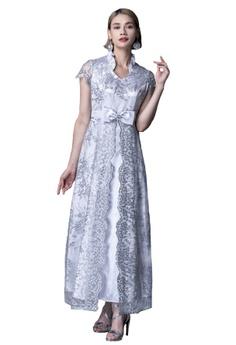 179a9030bc Evening by Karen Liu grey Ruffle Collar Silver Sequin Lace Bow Dress  B7E06AAEA36578GS 1