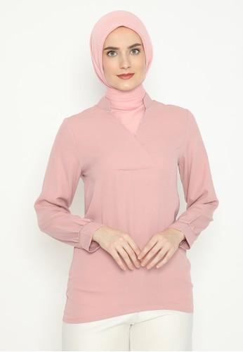 MINEOLA pink MINEOLA Tunic V Neck Long Sleeves 4D875AA26AF4FDGS_1