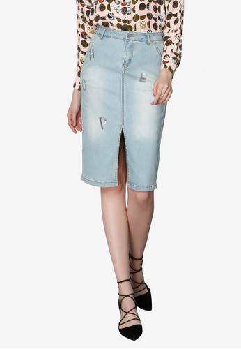 Hopeshow blue Long Denim Skirt with Front Slits B866AAAB1BFAECGS_1