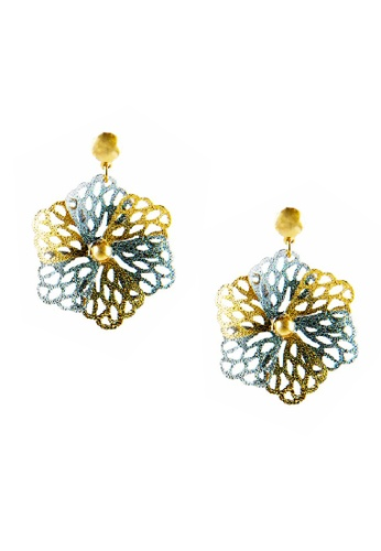 CELOVIS multi Dua-Tone Flower Stud Earrings  CE446AC15COYMY_1