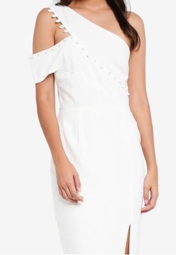 5a7cd277429 Buy Lavish Alice Button Detail One Shoulder Midi Dress Online on ...
