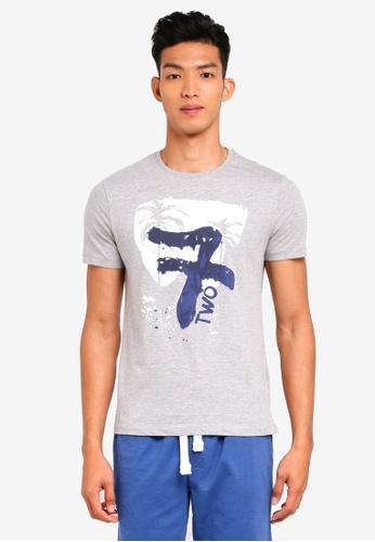 OVS 灰色 短袖印花T恤 C1CFDAA6F972F3GS_1