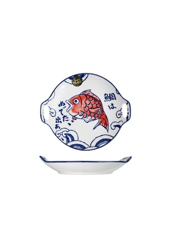 Table Matters multi Red Tai - 9.2 inch Round Plate With Handles 1541BHLF582572GS_1
