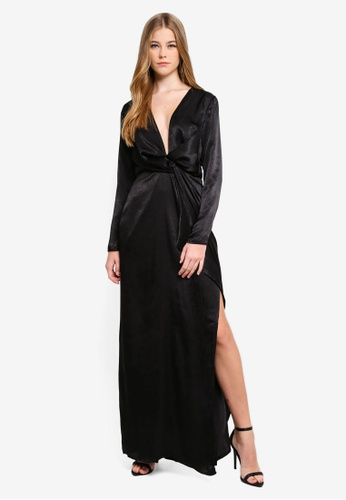 MISSGUIDED black Wrap Front Maxi Dress FE35EAA3DB515CGS_1
