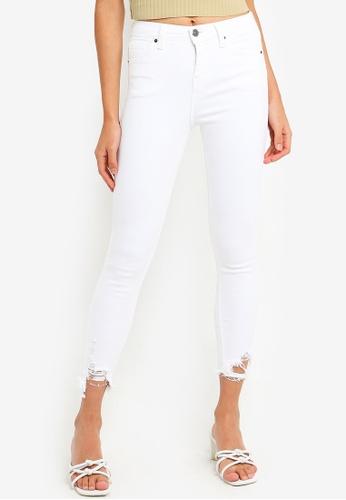 professional website temperament shoes enjoy bottom price Petite White Ripped Hem Jamie Jeans