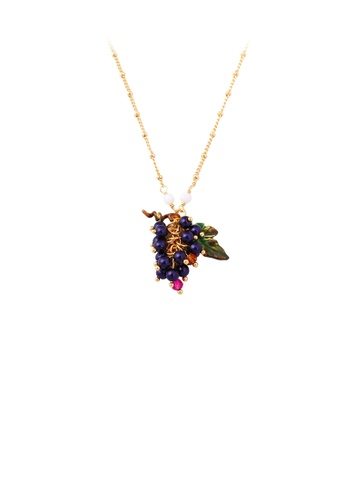 Glamorousky silver Fashion Temperament Plated Gold Enamel Grape Pendant with Necklace 3B2A6ACB1A9E9FGS_1