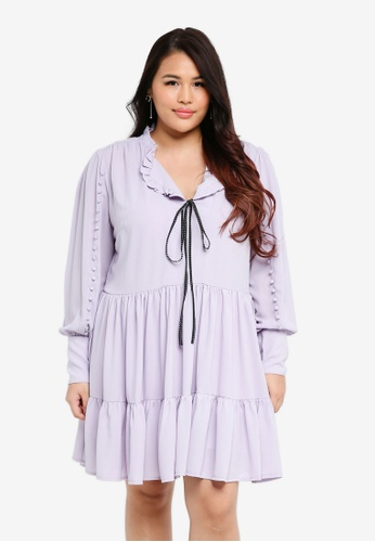 ELVI purple Plus Size The Poe Rouleau Sleeve Smock Dress CEB10AAC8ED888GS_1