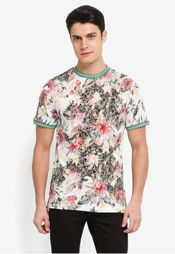 Topman white White Floral Tipped T-Shirt E3A82AA769C678GS_1