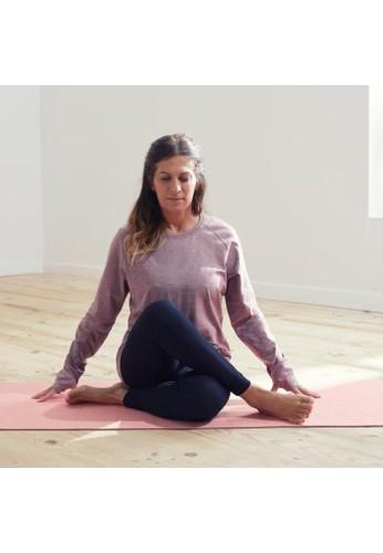 Decathlon DOMYOS Kaos Katun Organik Lengan Panjang Yoga Wanita Ungu soft yoga w ls ts purple - 8548910 0F904AAB9416ADGS_1