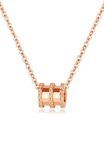 CELOVIS gold CELOVIS - Allotar Barrel Roll Ring Pendant Necklace (Rose Gold) A91C4ACAF60638GS_1
