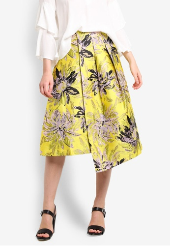 TOPSHOP yellow Floral Asymmetric Hem Prom Skirt TO412AA93AYKMY_1