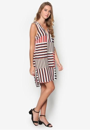 撞色條紋直筒連身裙,esprit 台中 服飾, 洋裝