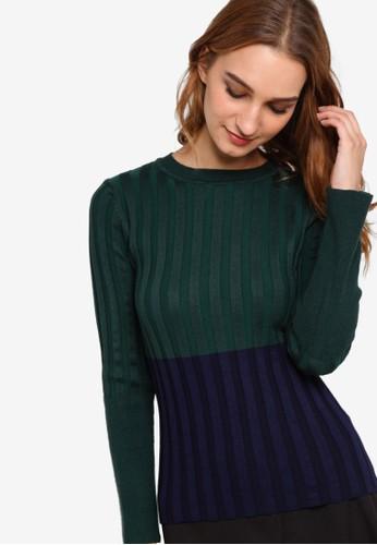 雙色貼身長袖衫, 服飾,esprit專櫃 女性服飾