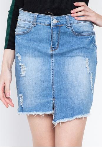 Balaynor blue Cropped Faded Denim Skirt BA9C5AA45C7756GS_1