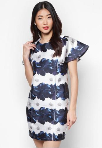 荷葉蓋袖esprit 台灣門市印花連身裙, 服飾, 洋裝