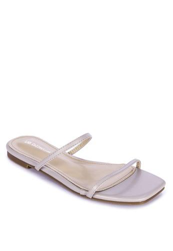 LND beige Double Strap Flats EF600SH339029EGS_1