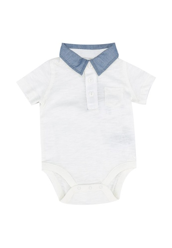 GAP white Chambray Polo Bodysuit 1772AKA5E25459GS_1