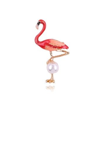 Glamorousky white Fashion Simple Red Flamingo Imitation Pearl Brooch 3DAC5ACFA7FFEEGS_1