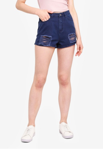Something Borrowed navy Distressed Ripped Denim Shorts 5727EAA89326FBGS_1