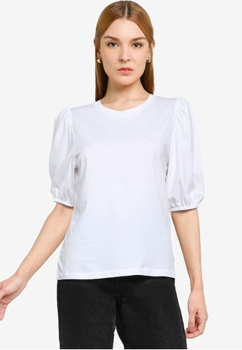 ONLY white Nora Life Volume Puff Top 96909AA93D69AFGS_1
