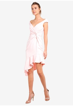 fd8c40b4e41d 15% OFF Goddiva Pink Ruffle Twist Dress S  80.90 NOW S  68.90 Sizes 8 10 12  14 16