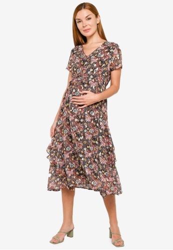 Mama.licious black Maternity Francine Woven Midi Dress FB574AAC71F61DGS_1
