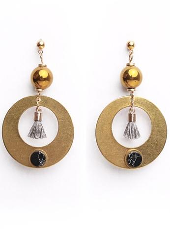 Gung Jewellery gold Cloris Grey Tassel Earrings  in Antique Gold D3445AC28F50C8GS_1