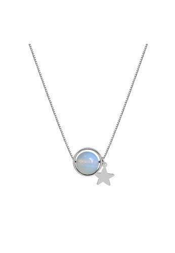 LYCKA 藍色 LDR9036 S925純銀 星星白月光吊墜項鏈 75692AC380458EGS_1