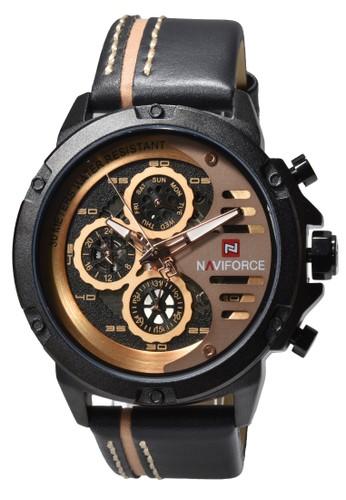 Naviforce black Naviforce - Jam Tangan Pria - Black - Leather Strap - NF9110-D 60C3AAC159047DGS_1