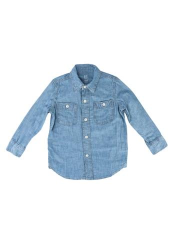 GAP blue Chambray Shirt 55AB2KA6FDFEA5GS_1
