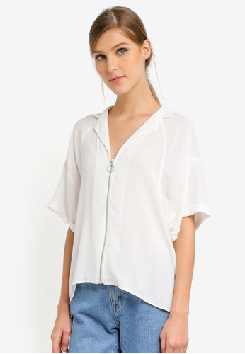 TOPSHOP white Zip Front Short Sleeve Shirt TO412AA0SLBQMY_1