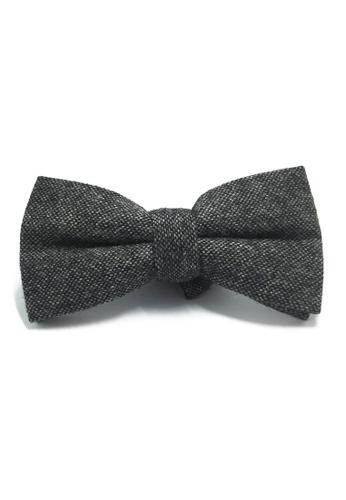 Splice Cufflinks Dolly Series Gunmetal Grey Patterned Wool Pre-tied Bow Tie SP744AC87LAYSG_1