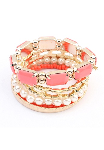LOVENGIFTS red and pink LOVENGIFTS Keep Celebrating Bangle 6 Piece Set (Coral) LO429AC89IDIMY_1