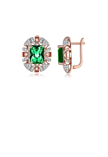 Glamorousky white Fashion and Elegant Plated Rose Gold Geometric Round Earrings with Green Cubic Zirconia 2E99EACF53CE41GS_1
