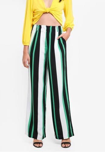 TOPSHOP green Wide Leg Striped Trousers DAD07AA4E02B5DGS_1