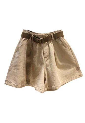 Sunnydaysweety beige Band Waist Wide-Leg Shorts A21032011LGKI 6FCCBAA66A7BC9GS_1