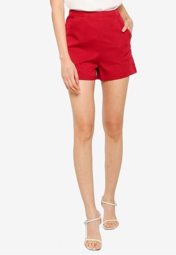 ZALORA BASICS 紅色 High Waist Shorts 7426DAAE8FFAEDGS_1