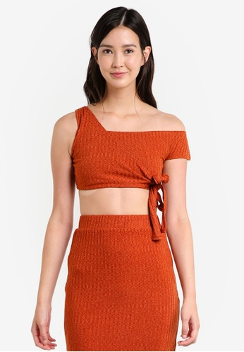 Lavish Alice orange Rust Rib Knit Asymmetric Tie Crop Top LA457AA48ZZFMY_1