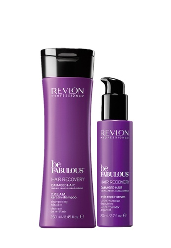 Revlon Professional purple Revlon Be Fabulous Hair Recovery Ends shampoo & leave in Conditioner B34D9BE5BDD129GS_1