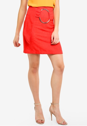 LOST INK red Buckle Belt Mini Skirt 01EE4AA950BC39GS_1