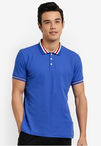 UniqTee blue Slim Fit Bomber Stripe Polo Shirt UN097AA0RFV3MY_1