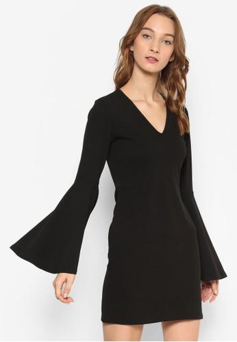 喇叭寬袖太空棉貼身連身裙, 服飾, 洋esprit 寢具裝