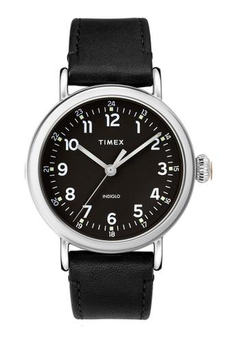Timex black and silver Timex Standard 40mm - Silver-Tone Case, Black Strap (TW2T20200) 071F8AC8421951GS_1